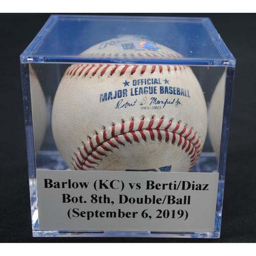 Photo of Game-Used Baseball: Scott Barlow (KC) vs Jon Berti/Isan Diaz, Bot. 8th, Double/Ball in Dirt (September 6, 2019)