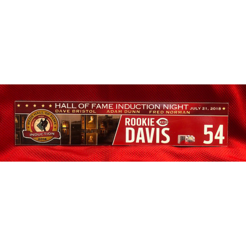 Photo of Rookie Davis -- Team-Issued Reds Hall of Fame Induction Locker Tag -- 2018 Season