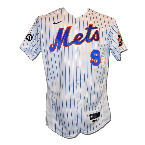 Photo of Brandon Nimmo #9 - Game Used White Pinstripe Jersey with Seaver Patch - Mets vs. Rays - 9/23/20