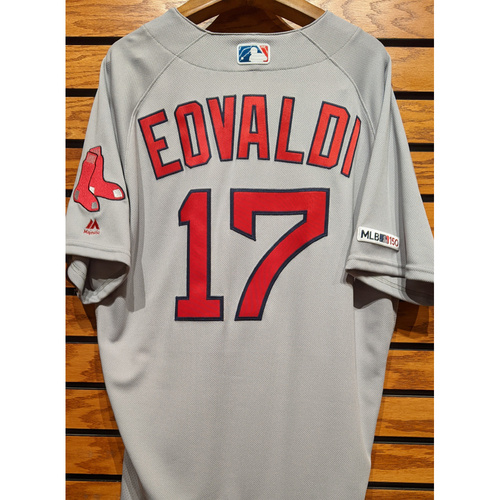 Photo of Nathan Eovaldi #17 Team Issued Road Gray Jersey