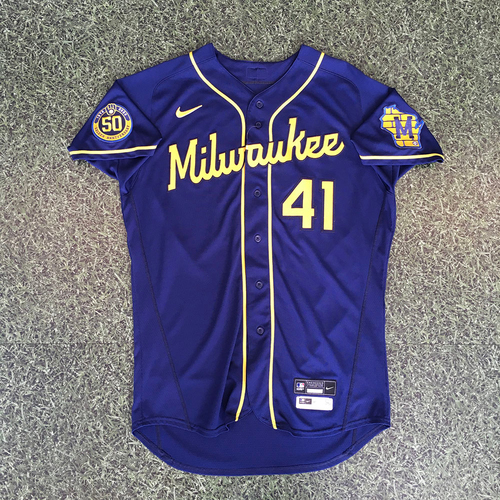 Photo of David Phelps 2020 Team-Issued Road Navy Jersey