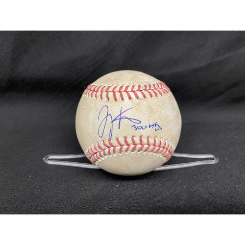 Joey Votto *Game-Used, Autographed & Inscribed* Baseball from 300th Career HR Game - Wade Miley to Javier Baez (Foul) -- 04/30/2021 - CHC vs. CIN - Top 3