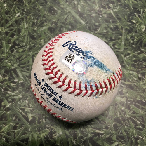 Photo of Game-Used Baseball PIT@MIL 04/18/21 - Freddy Peralta - Bryan Reynolds: Double (4)