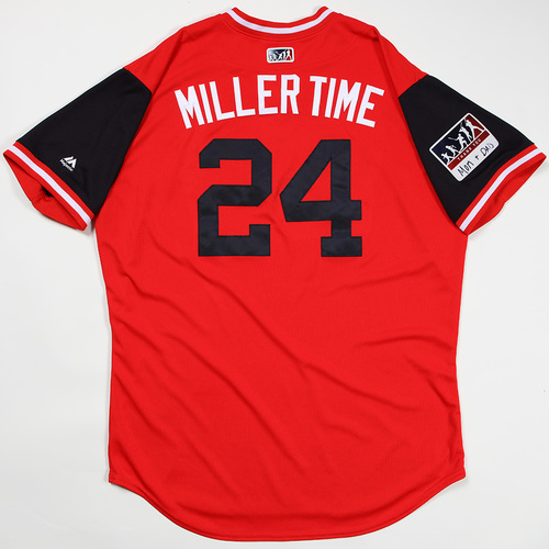 "Photo of Andrew "" Miller Time"" Miller Cleveland Indians Game-Used Jersey 2018 Players' Weekend Jersey"