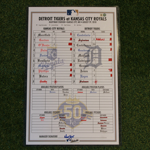 Photo of Game-Used Line-Up Card: Alex Gordon #4 All-Time in Home Runs in Royals Franchise History