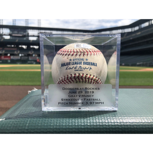 Photo of Colorado Rockies Game-Used Baseball - Pitcher: Jon Gray, Batter: Max Muncy - Strikeout - June 29th, 2019 vs. Dodgers