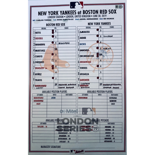 2019 London Series - Game Used Line-Up Card - Red Sox Dugout, New York Yankees vs Boston Red Sox - 6/30/2019