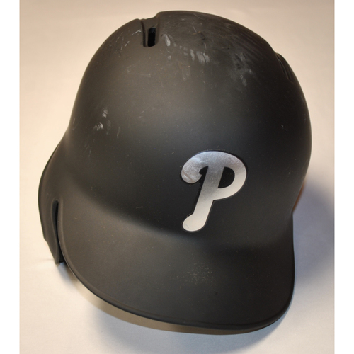 "Photo of Logan ""LOMO"" Philadelphia Phillies Game-Used 2019 Players' Weekend Helmet"