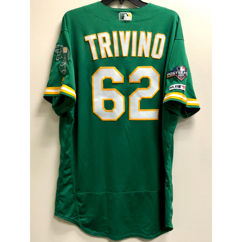Lou Trivino Team Issued 2019 A.L. Wild Card Jersey w/ Postseason Patch