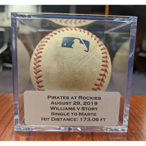 Photo of Colorado Rockies Game-Used Baseball - Pitcher: Trevor Williams, Batter: Trevor Story (Single to Marte) - August 29, 2019 vs Pittsburgh Pirates