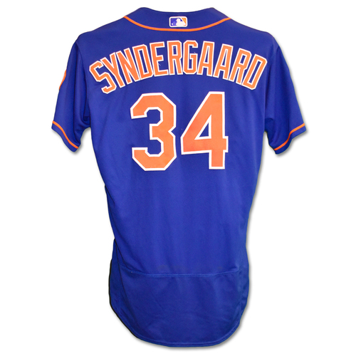 Photo of Noah Syndergaard #34 - Team Issued Blue Alt. Home 2019 Spring Training Jersey