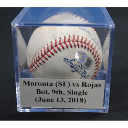 Photo of Game-Used Baseball: Reyes Moronta (SF) vs Miguel Rojas, Bot. 9th, Single (June 13, 2018)