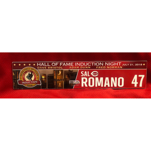 Photo of Sal Romano -- Game-Used Reds Hall of Fame Induction Locker Tag -- 2018 Season - 7/21/2018