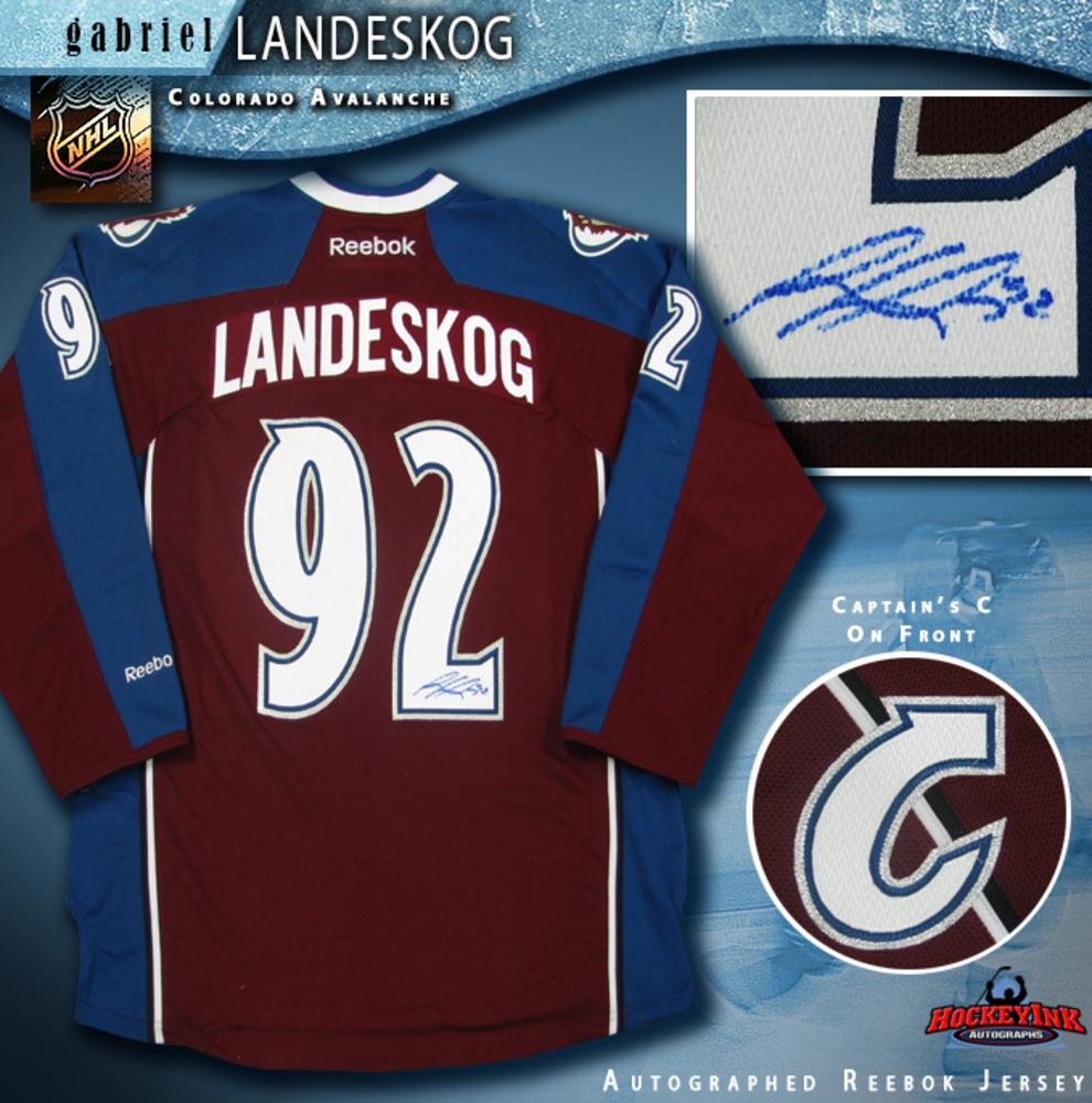 GABRIEL LANDESKOG Signed Burgundy Reebok Colorado Avalanche Jersey With CAPTAIN C