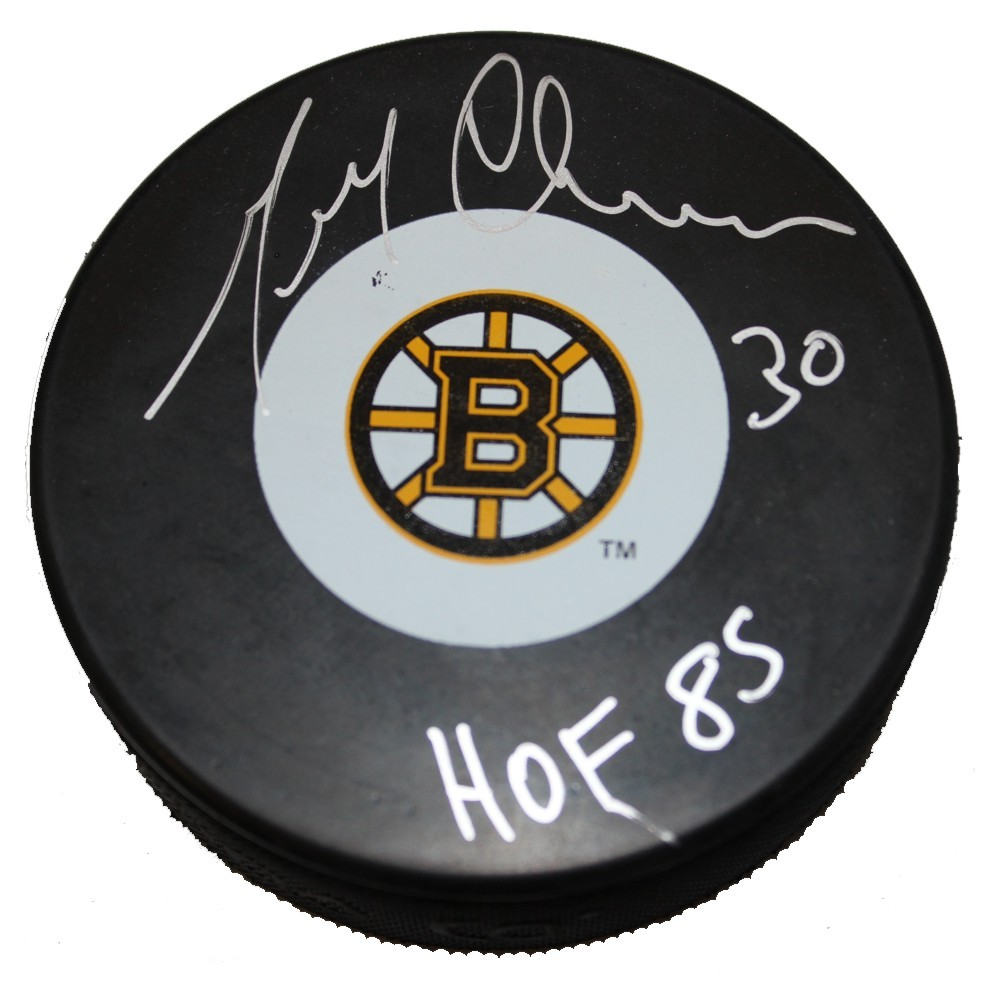 Gerry Cheevers Autographed Boston Bruins Puck