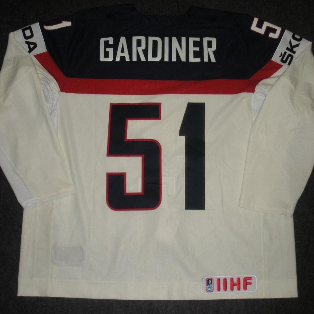 Jake Gardiner - 2014 IIHF Mens World Championship - Team USA White Game-Worn Jersey - Worn on 5/9/14, 5/15/14 and 5/20/14