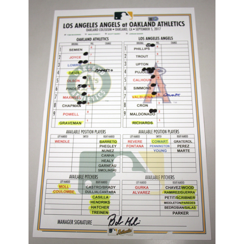 Photo of Lineup Card - 9/5/17 Los Angeles Angels vs Oakland Athletics