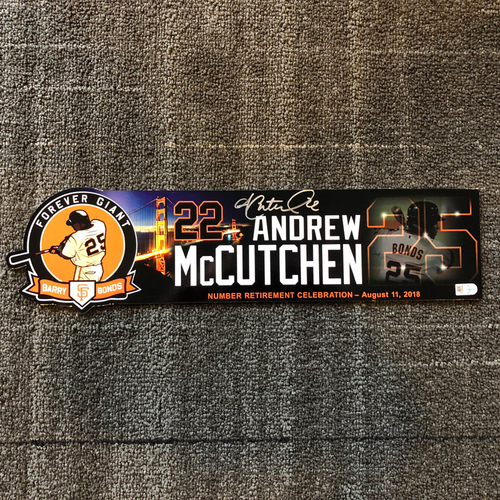 Photo of 2018 San Francisco Giants - Autographed Locker Tag - #25 Number Retirement Game - #22 Andrew McCutchen