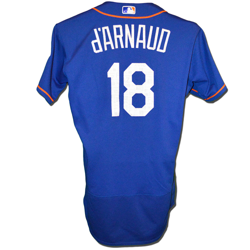 Photo of Travis d'Arnaud #18 - Game Used Spring Training Jersey - Mets vs. Marlins - 3/25/18