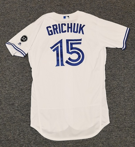 Photo of Authenticated Game Used Jersey - #15 Randal Grichuk (June 8, 2018: 1-for-3 with 1 HR, 1 Run, 1 RBI, 1 BB. June 17, 2018: 3-for-3 with 2 HRs, 2 Runs, 4 RBIs, 1 BB. July 20, 2018: 1-for-4 with 1 HR, 1 Run, 1 RBI). Size 44.