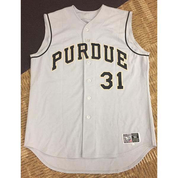 Photo of Purdue Baseball #31 Custom Gray Game-Worn Jersey