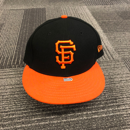 Photo of 2018 Game Used Orange Bill Cap worn by #59 Andrew Suarez - Size 7 1/4