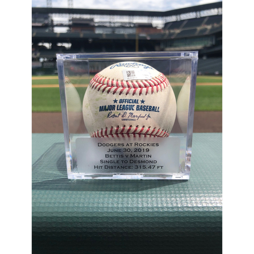 Photo of Colorado Rockies Game-Used Baseball - Pitcher: Chad Bettis, Batter: Russell Martin - Single to Ian Desmond - June 30th, 2019 vs. Dodgers