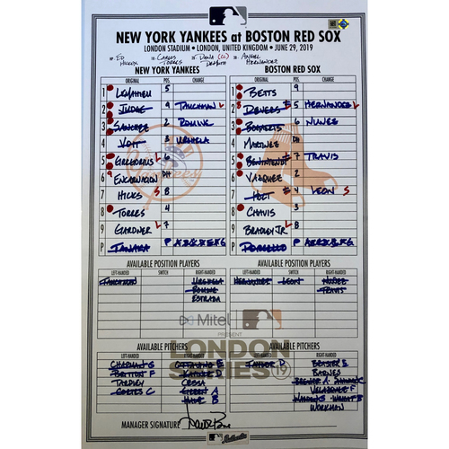 Photo of 2019 London Series - Game Used Line-Up Card - Yankees Dugout, New York Yankees vs Boston Red Sox - 6/29/2019