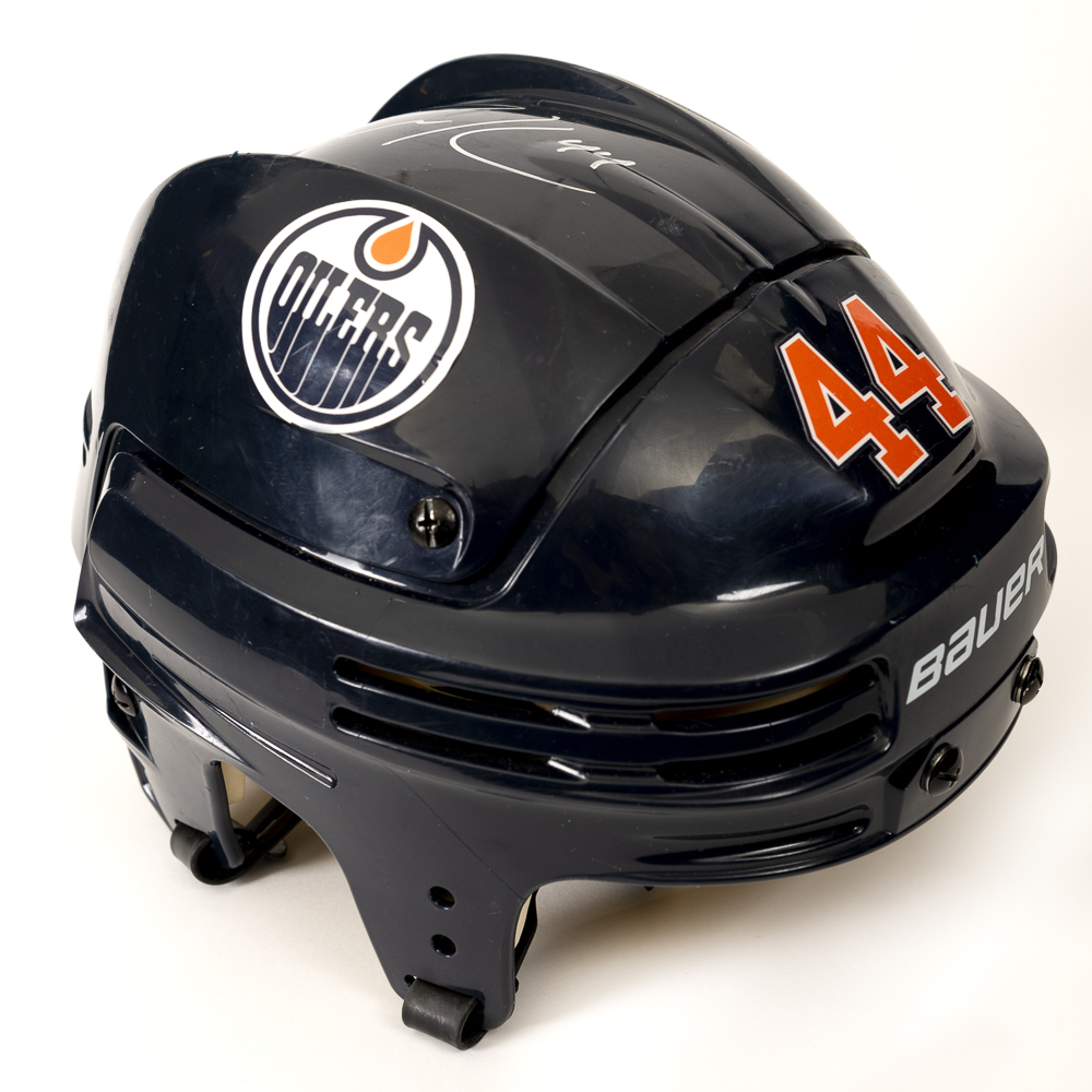 Zack Kassian #44 - Autographed 2018-19 Edmonton Oilers Game-Worn Navy Blue Bauer Helmet (Second Half Of Season)