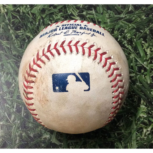 Photo of Game-Used Baseball CHC@MIL  09/07/19 - Yu Darvish - Gio Gonzalez: Strikeout