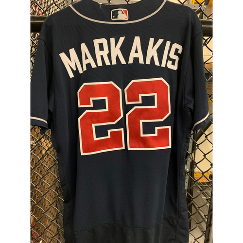Photo of Nick Markakis Game Used Road Navy Postseason Jersey - Worn 4/23/19 and 10/7/19