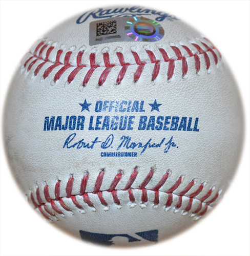 Photo of Game Used Baseball - Corey Oswalt to Lorenzo Cain - 3 RBI Double - 5th Inning - Mets vs. Brewers - 4/26/19