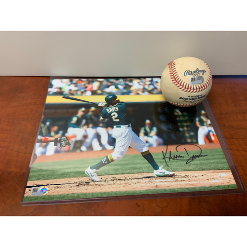 Oakland Athletics Community Fund: 2020 Opening Day Game-Used Baseball + Autographed Khris Davis Photo