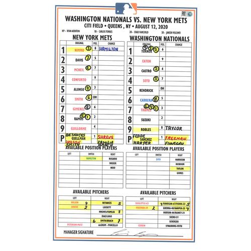 Photo of Game Used Lineup Card - Alonso, Nimmo and Smith Each Hit HR's, Mets Win 11-6 - Mets vs. Nationals - 8/12/20