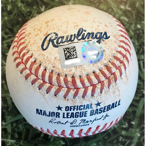 Game-Used Baseball DET@MIL 09/01/20 - Michael Fulmer - Keston Hiura: Single