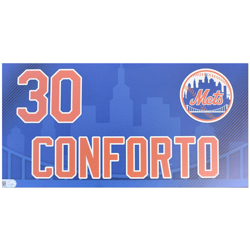 Photo of Michael Conforto #30 - Game Used Locker Nameplate - Used During 2019 Home Opener - Mets vs. Nationals - 4/4/19