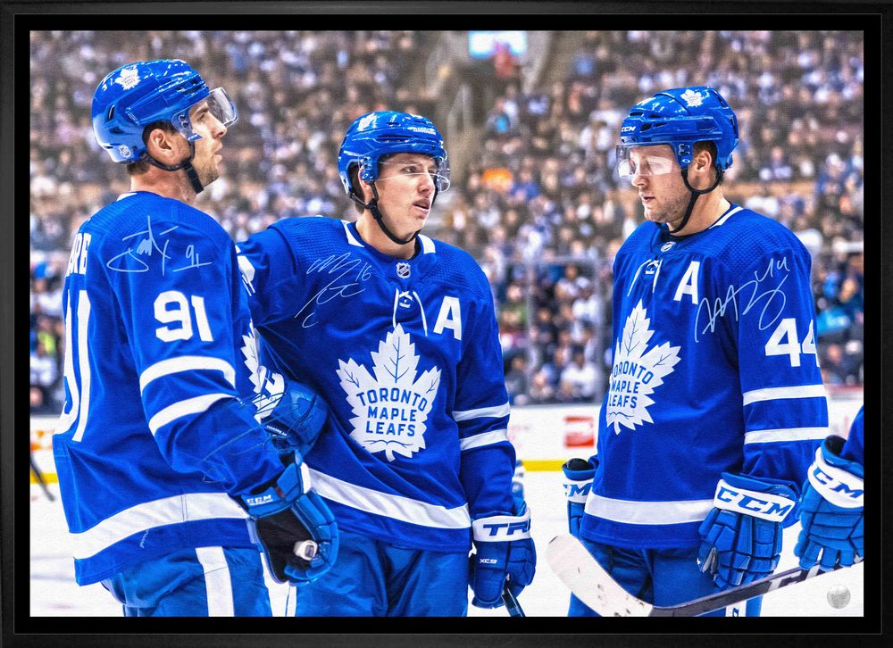 Mitch Marner, John Tavares and Morgan Rielly Toronto Maple Leafs Multi Signed Framed 20x29 Canvas