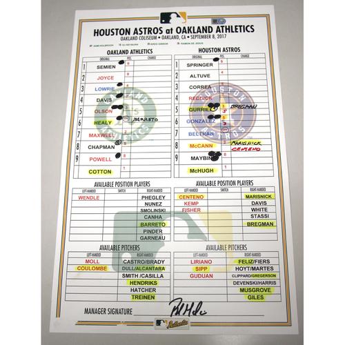 Photo of Lineup Card - 9/8/17 Houston Astros vs Oakland Athletics