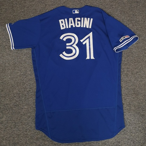 Photo of Authenticated Game Used Jersey: #31 Joe Biagini (Mar 30, 19 vs DET: 1.1 IP, 0 ER, 2 Ks). Size 50