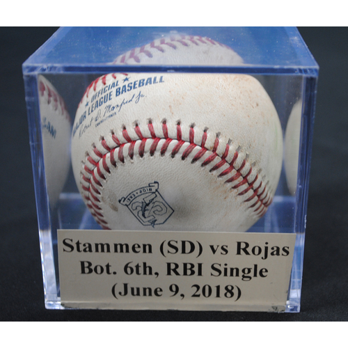 Photo of Game-Used Baseball: Craig Stammen (SD) vs Miguel Rojas, Bot. 6th, RBI Single (June 9, 2018)