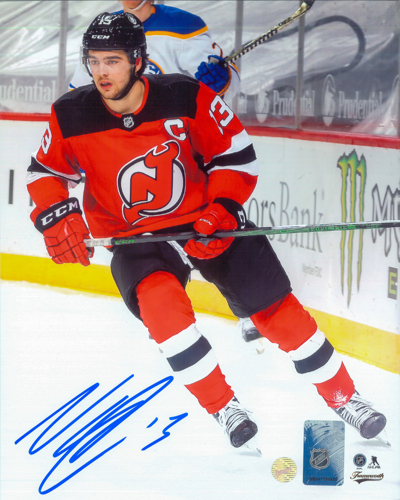 Nico Hischier New Jersey Devils Signed 8x10 Action Photo