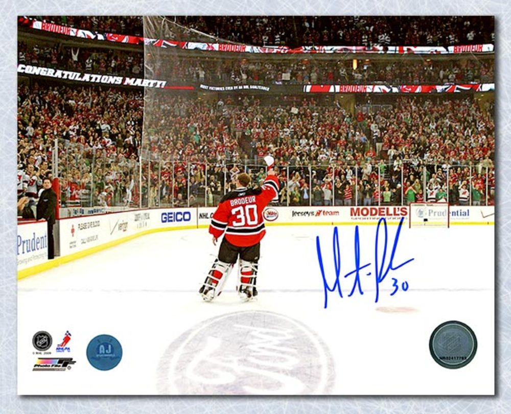 Martin Brodeur New Jersey Devils Autographed Win Record Celebration 8x10 Photo