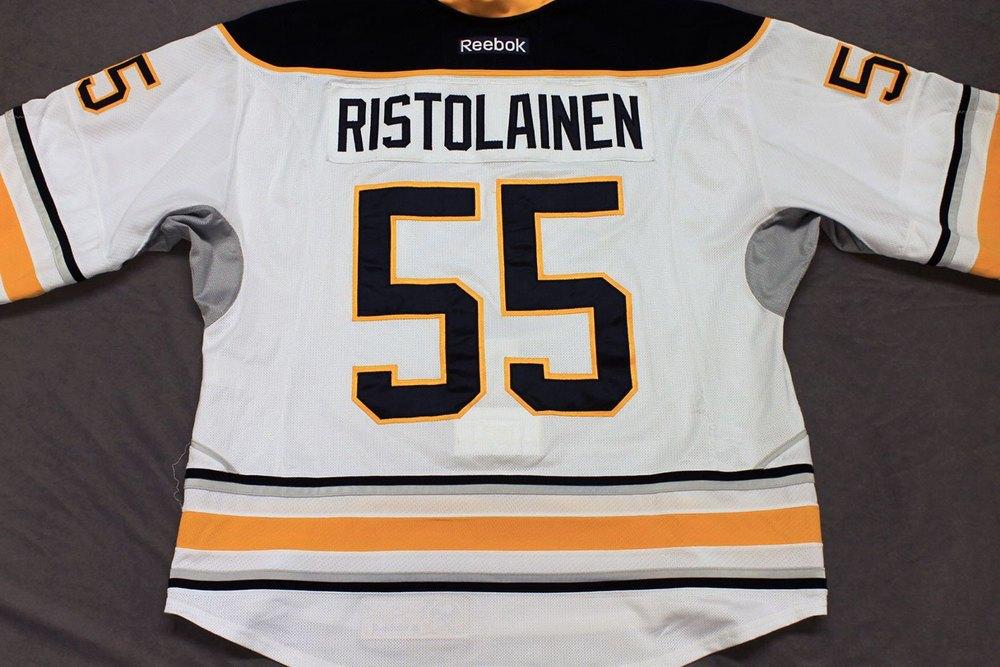 Rasmus Ristolainen Game Worn Buffalo Sabres Away Jersey.  Serial: 1045-1. Set 1 - Size 58.  2013-14 season.