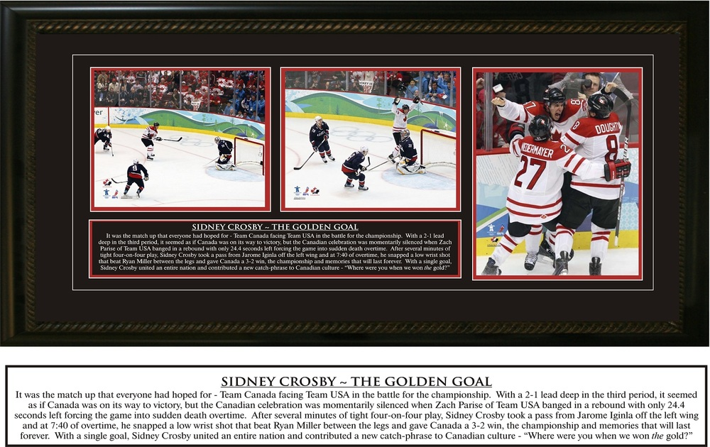 Sidney Crosby - Framed Triple 8x10 Etched Mat - Team Canada Olympic 2010 - The Golden Goal