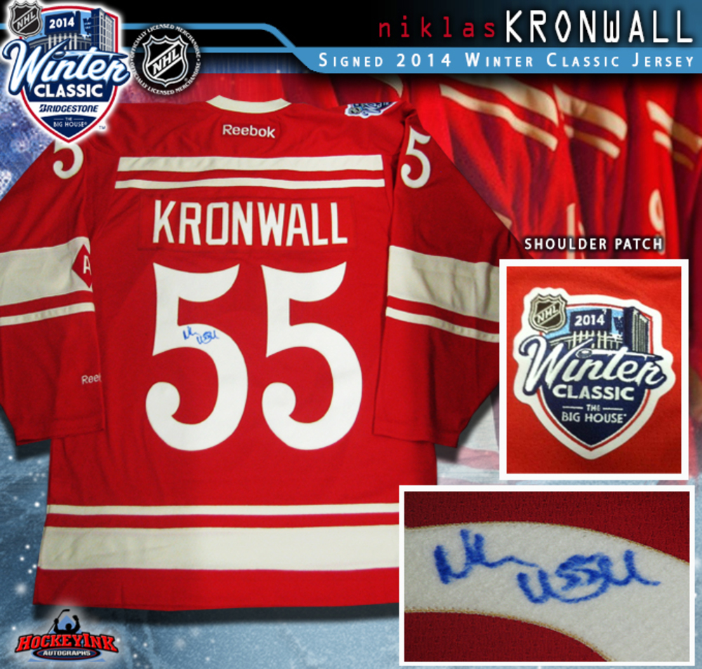 NIKLAS KRONWALL Signed 2014 NHL WINTER CLASSIC Detroit Red Wings Red Reebok Jersey