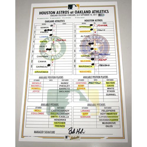 Photo of Lineup Card - 9/10/17 Houston Astros vs Oakland Athletics