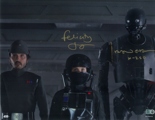 Felicity Jones as Jyn Erso and Alan Tudyk as K-2SO 8x10 Autographed Inscribed