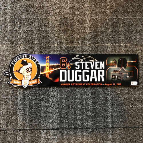 Photo of 2018 San Francisco Giants - Autographed Locker Tag - #25 Number Retirement Game - #6 Steven Duggar