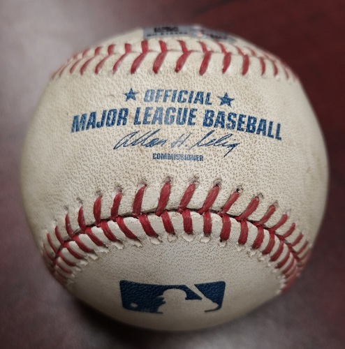 Photo of Authenticated Game Used Baseball - Pitch in the Dirt by Andy Pettitte to Jose Reyes (September 17, 2013 vs New York Yankees). Bottom 5. Final MLB Season for Pettitte.