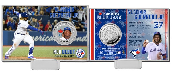Toronto Blue Jays Guerrero Jr. MLB Debut Silver Coin Card by Highland Mint